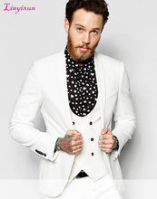 Linyixun Latest Coat Pant Designs White Shawl Lapel Double Breasted men suit 2017 Beach Tuxedo Men Suits Blazer Skinny 3 Pieces(China)