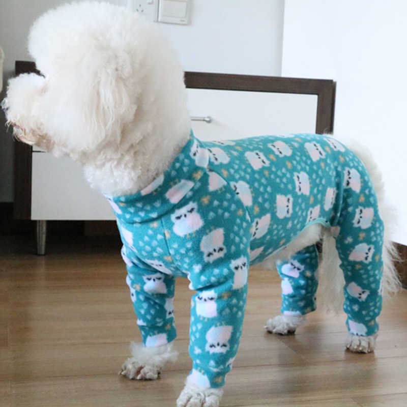 Pet Dog Jumpsuit Puppy Polar Fleece Printed Fabric Clothes For Small Dogs Long Sleeve Pullover Bouncy Sweatshirt Casual Pajamas