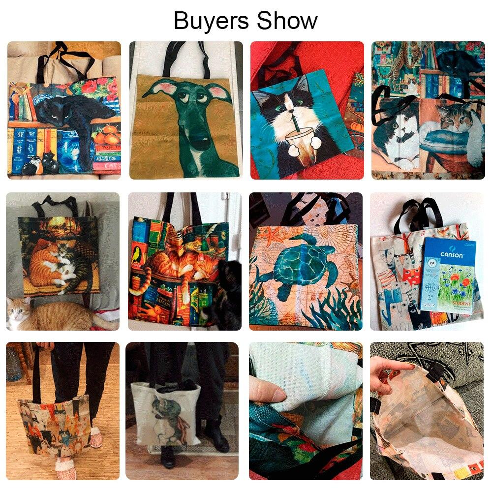 Customized Cute Cat Printing Women Handbag Linen Tote Bags with Print Logo Casual Traveling Beach Bags
