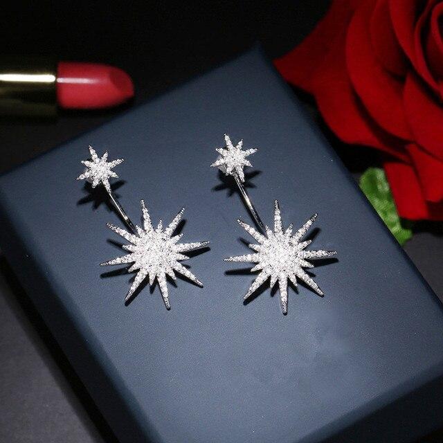 163f16090098 Nueva mujeres dulce brillante Diamantes con piedras falsas largo Pendientes  grandes estrellas del perno prisionero elegante