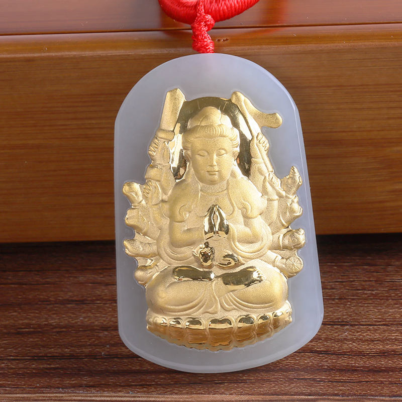 Beautiful Gold Hetian Jade Pendant Buddha Statue Avalokitesvara Deity Shaped Pendant Rat guardian God Pendant 12 Zodiac 8611 rat god
