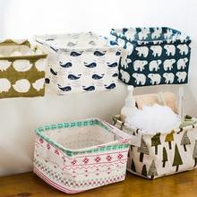 High Quality Cute Printing Cotton Linen Desktop Storage Organizer Sundries Storage Box Cabinet Under