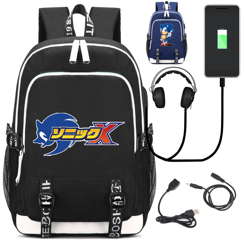 Sonic The Hedgehog Backpack with USB Charging Port and Lock Headphone interface for College Student Work