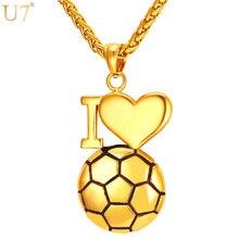 U7 Collar Del Corazón Para Las Mujeres de Los Hombres 2016 de Acero Inoxidable Chapado En Oro Amo Fútbol Collar Colgante de Joyería Deporte P911