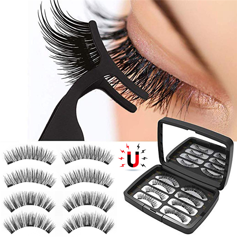 Magnetic Eyelashes With 2/ 3 Magnets 3D Magnetic Lashes Natural False Eyelashes Magnet Lashes With Eyelash Applicator Tweezers