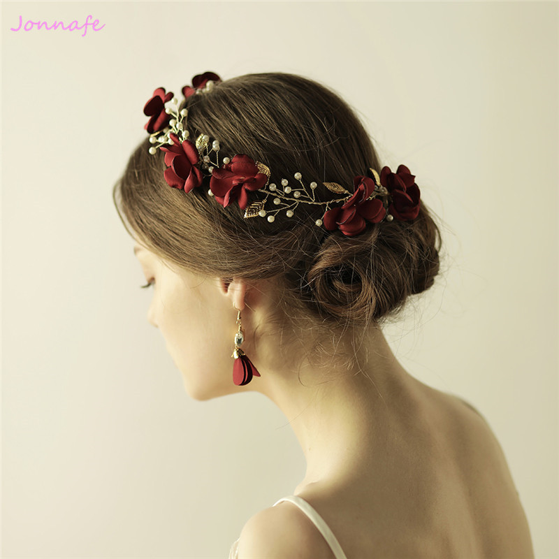 Jonnafe Handmade Red Flower Women Headband Tiara Gold Wedding Hair Accessories Bridal Headwear Pearls Hair Jewelry ...