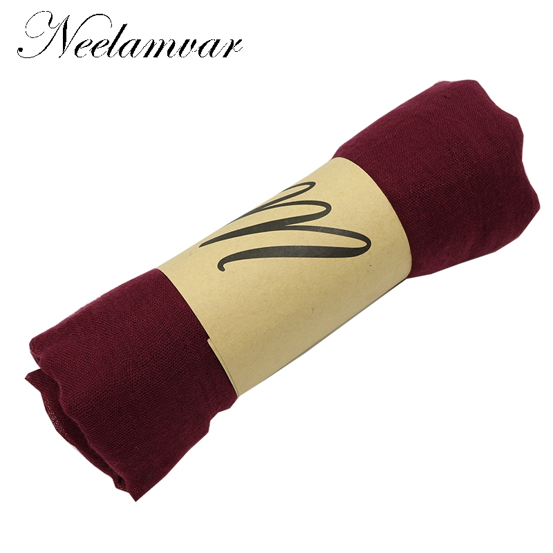 Neelamvar Women Cotton&Linen Scarf Fashion Warm Solid Colors Shawl Polyester scarves 14 colors girl gifts drop shipping