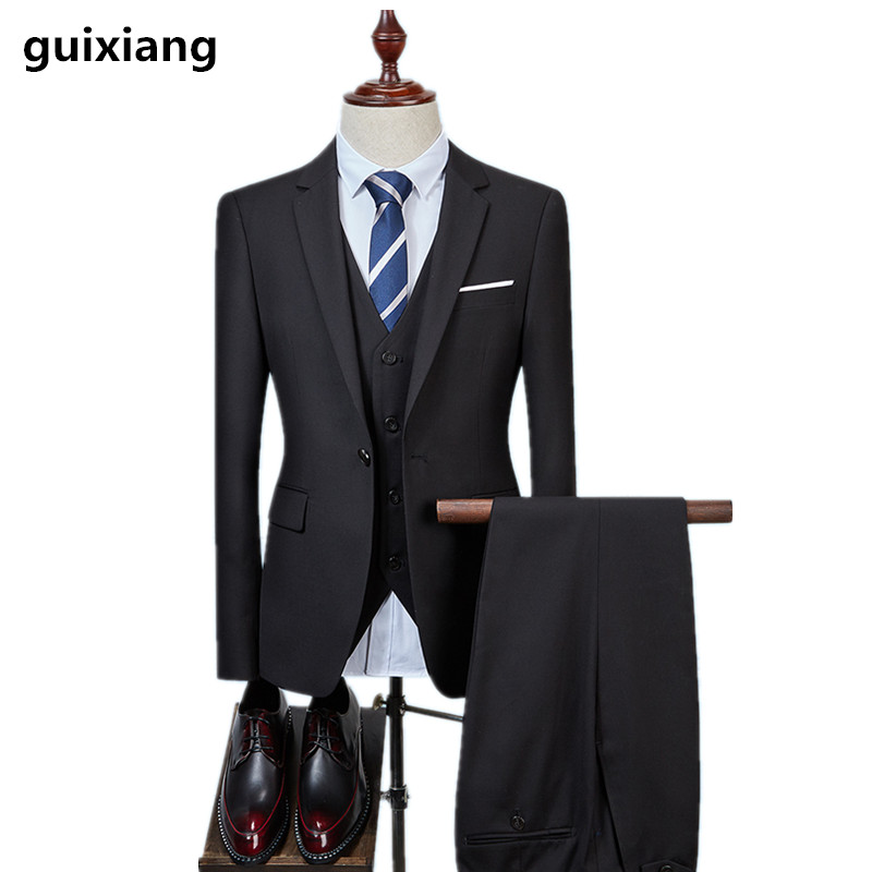 (Jackets+vest+Pants)2017 New Arrival Men Slim Suit Groom Wedding Suits For Men Tuxedo One Button Men's Blazer Jacket size S-5XL