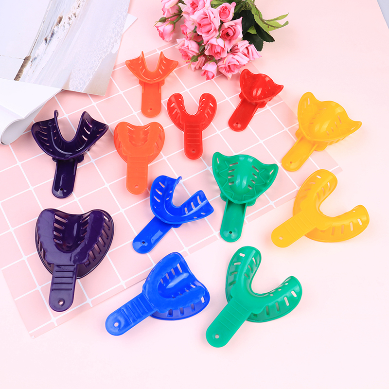 2Pcs Plastic Autoclavable Adult And Kid Dental Impression Tray For Dental Alginate Impression Material