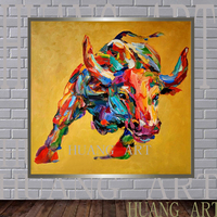 The animals are handcrafted from the base of the yellow bull oil painting canvas for the living room bullfight hanging modern pa