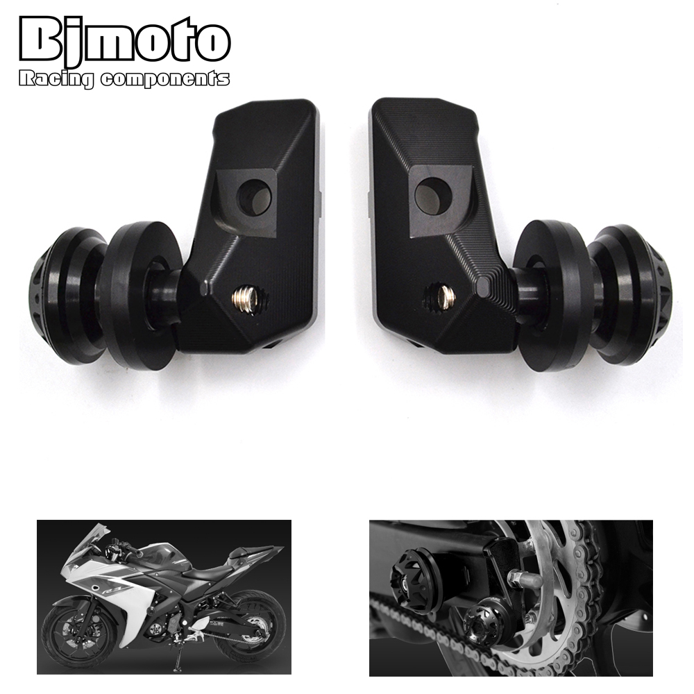 BJMOTO CNC Rear Axle Spindle Chain Adjuster Blocks with Spool Sliders For Yamaha R3 2015-2018,R25 2013-2018,MT03 MT25 2015-2016 цена