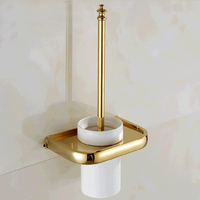 Wholesale And Retail Promotion Wall Mounted Toilet Brush Holder Solid Brass Holder W Ceramic Cup W