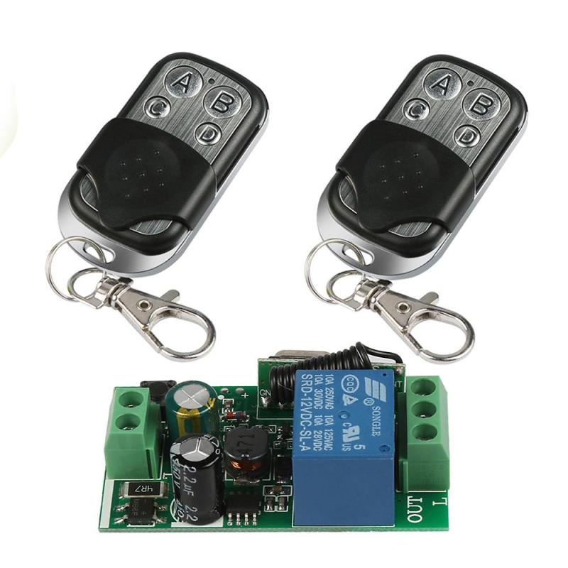 Universal 433MHz RF 4 buttons Remote Control Touch switch Learning Code 1527 Key Fob Transmitter + 1CH Relay Receiver Module long range remote control switch dc 12v 1 ch 10a relay 4 receiver 1 transmitter learning code 315 433 4204
