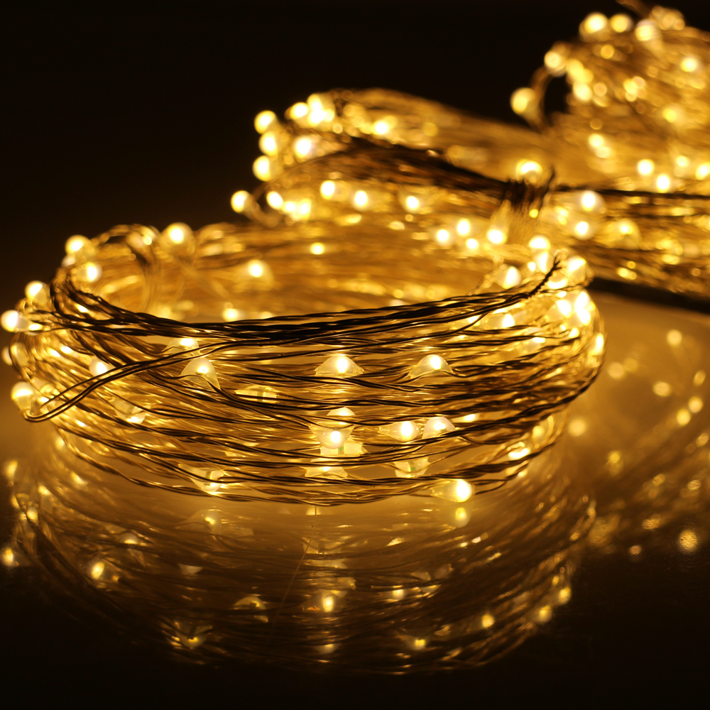 3*33Ft Indoor Outdoor Christmas Fairy Lights Warm White Silver Wire LED String Lights Starry Light+Power Adapter(UKUSEUAU Plug)