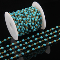 Faceted Round Beads Chains Jewelry Supplies,Rosary Plated Gold Wire Wrapped Link Stones Howlite Chain Findings Bulk