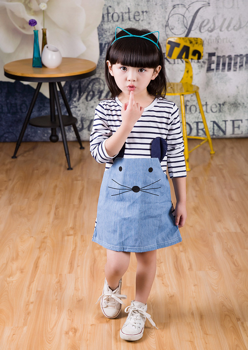Casual style long sleeve Striped lovely little mouse design girls dress 2016 New Arrive Autumn children clothing