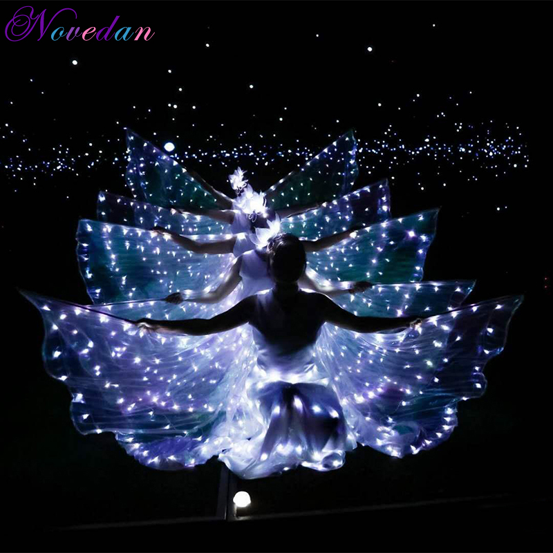 Women Blue White Light Fairy Led Belly Dance Isis Wing Accessories Butterfly Party Cospaly Costume Electronic Music Festival