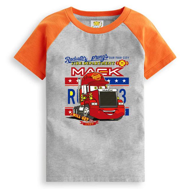 Liquidación impresión camión camión de Dibujos Animados camiseta ocasional del verano niñas modelos de verano de manga corta niños ropa Al Por Menor