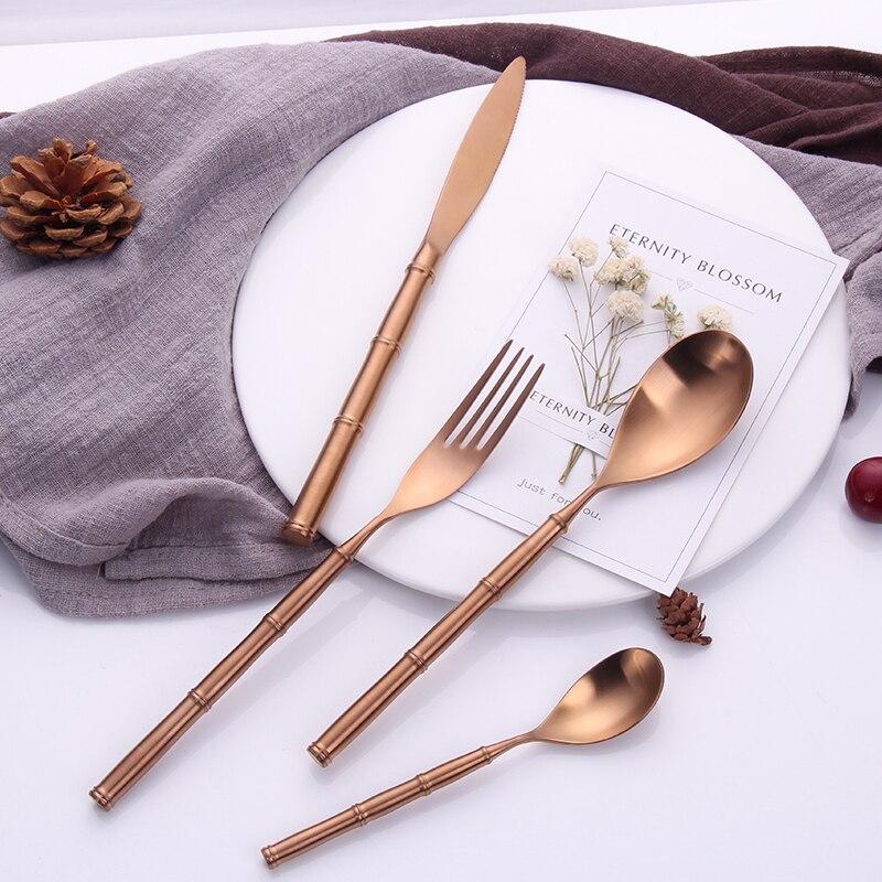 Offre spéciale 4 pièces bambou type rose or vaisselle 304 en acier inoxydable occidental couverts cuisine alimentaire vaisselle ensemble de dîner
