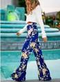 Summer New Floral Silk Palazzo Pants Printed Loose Fashion Beach Pants 11