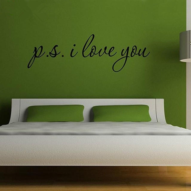 New 2017 PS P.S. I LOVE YOU Inspirational Decal Wall Decor Quote Vinyl Sticker Art Wall Decorations Living Room 101*28cm