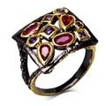 Модный Квадратный дизайн кольца для девочек черный и золотой покрытием с красный и фиолетовый корень циркон ювелирные изделия black party кольцо