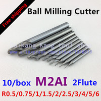 Free Shipping 10 Box Set New 2flute M2AI Dia R0 5 0 75 1 1 5