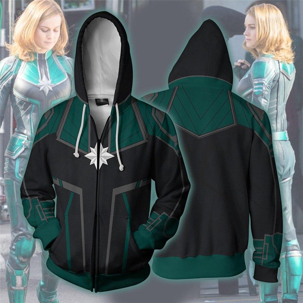 Captain  Carol Danvers Hoodie Sweatshirts Long Sleeve Zipper Men  Hoodie Cosplay Sweatshirt Jacket