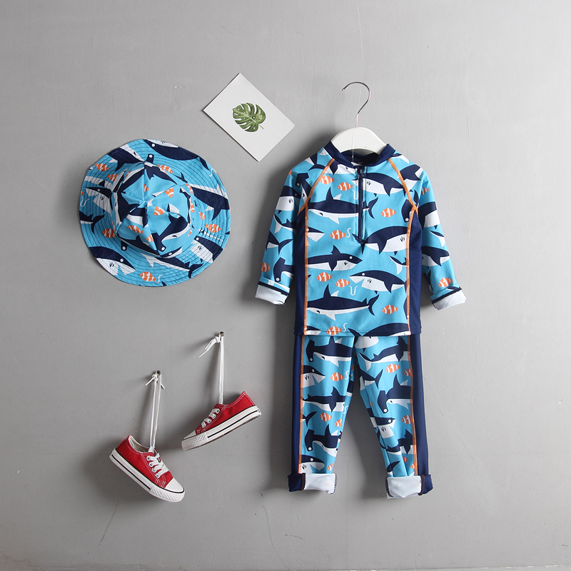Baby Toddler Boys Swimsuits Rash Guards 2-Piece Surfing Diving Suit Sun Protection Sunsuit Long Sleeve Children Swimwear for Boy toddler boys swimwear infant baby boy swimsuit shark print long sleeves rash guards beachwear swimming outfits sun block upf50