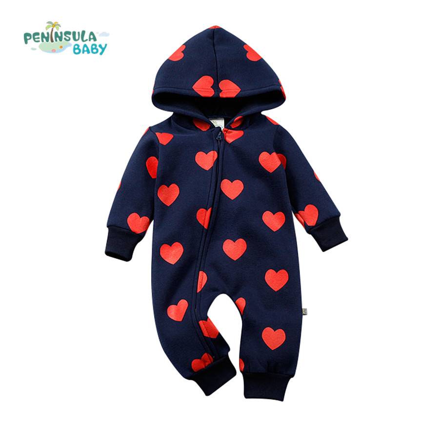 Winter Baby Rompers Love Pattern Hooded Jumpsuits Warm Thick Newborn Girls Boys Clothes Infant Zipper Outerwear Toddler Costume 0 9months autumn winter baby girls boys rompers cartoon cute thick warm hooded jumpsuits newborn clothes infant clothing bc1225