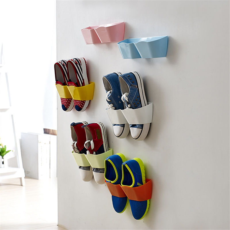 New Plastic Creative Adhesive Shoe Rack Wall Door Hanging Shoes Storage Shelf Organizer Free Shipping In Racks Organizers From Home Garden On
