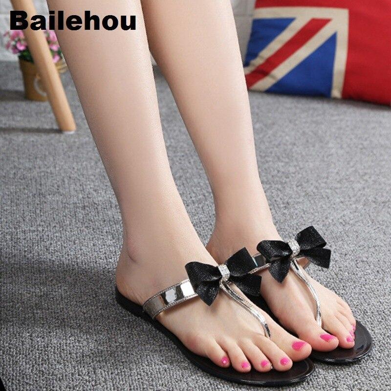 e05a82f6ce8c2 Bailehou Fashion Women Slippers Beach Flip Flops Sandals Butterfly knot  Slip On Slides Jelly Summer Flat Shoes Bow Rivet Slipper