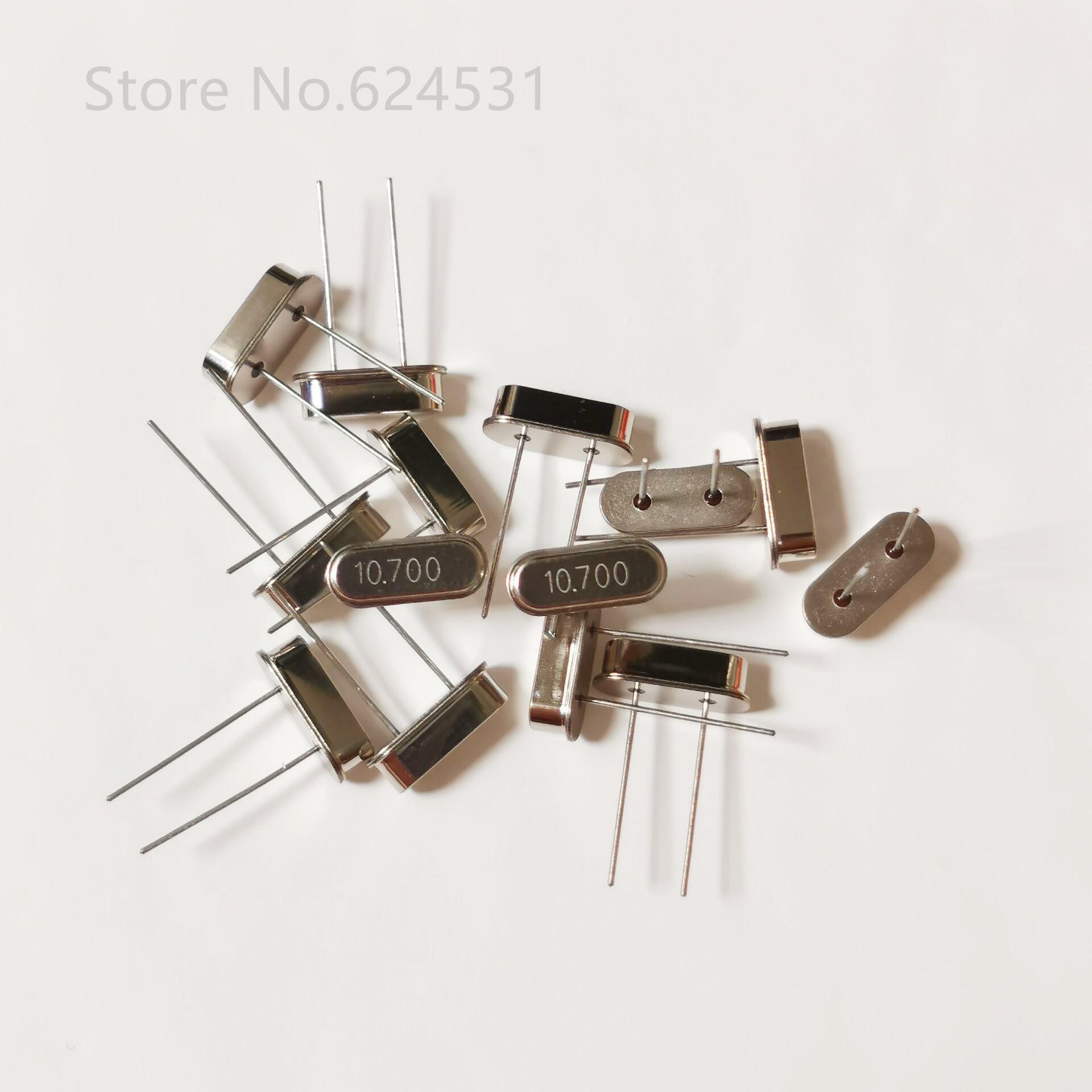 10pcs Quartz Crystal Resonator Crystal Oscillator 10.7M 10.7MHZ HC-49S In-line 2-pin Resonator