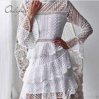 e00b817455b078 Ordifree 2019 Summer Autumn Women White Lace Dress Long Sleeve Hollow Out  Black Sexy Crochet Elegant