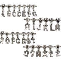 26PCs Rhinestone Alphabet Letter Dangle Pendant Charm Fit Bracelet Mixed