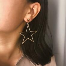 Exaggerated Big Pentagram Star Pendants Drop Earrings Hanging Women Boho Charms Oorbellen Fashion Jewelry Female Brincos