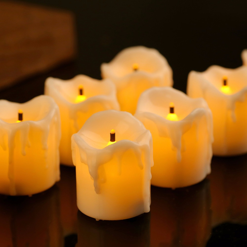 set of 6 flameless decorative candles with timer yellow flashing led