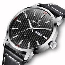 Мужские водонепроницаемые кварцевые часы в стиле милитари, с кожаным ремешком
