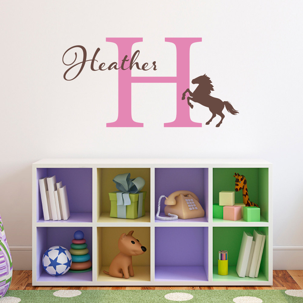 personalised kids name horse vinyl wall decal stickers for pics photos wall stickers kids personalised names