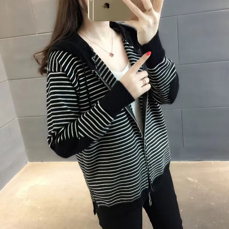 New Casual Long Sleeve Cardigan Sweater Women Knitted Hooded Cardigans With Zipper Korea Autumn Female Fashion Knitting Outwear 33