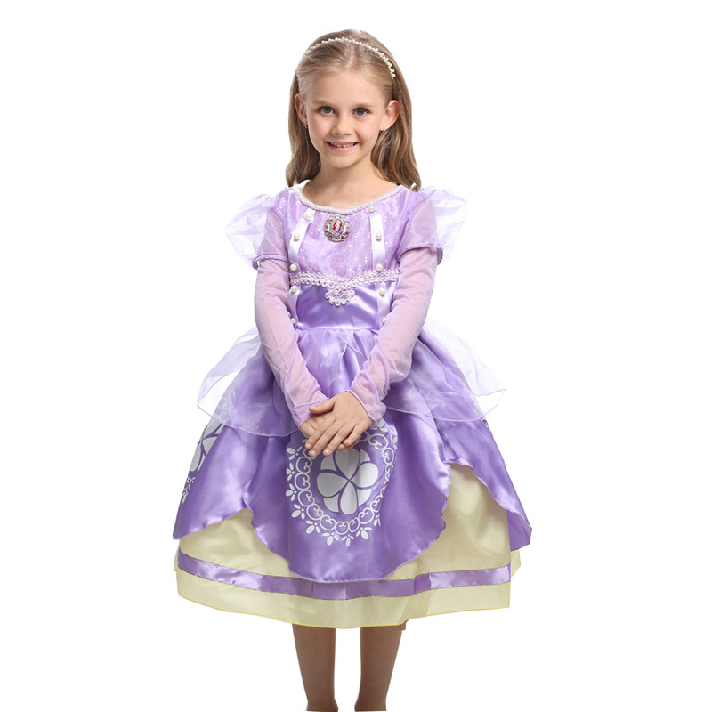 HOT Princess Summer Dresses Girls Sofia Cosplay Costume 5 Layers Children Kids Halloween Birthday Party Dresses