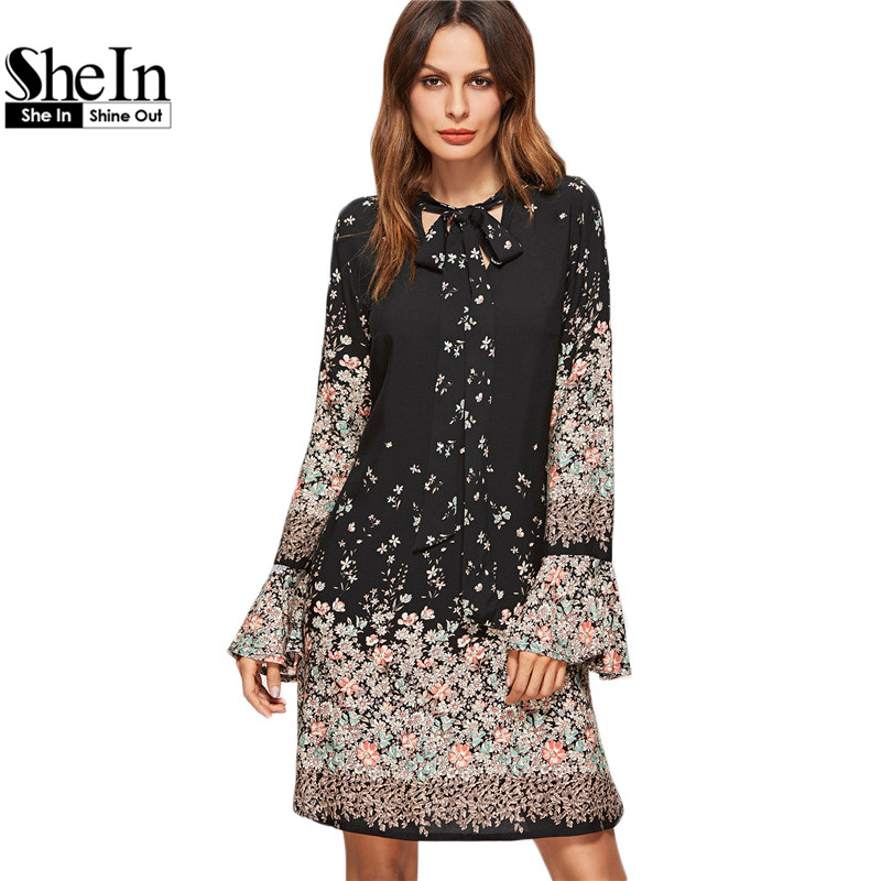 SheIn Korean Women Clothing Floral Print Dresses Women Spring Black Tie Neck Long Flare Sleeve Casual <font><b>A</b></font> <font><b>Line</b></font> Dress