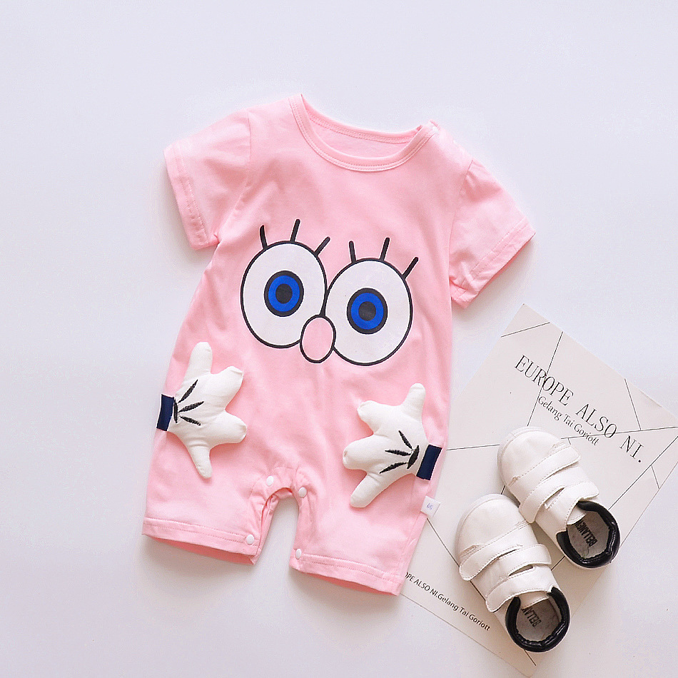 summer New Baby   Rompers   Cotton baby girl clothes short sleeve pink big eye Jumpsuits Roupas Bebes Infant Clothing