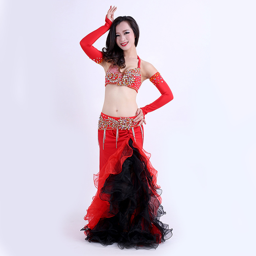High Grade Performance 2018 Egyptian Belly Dancing Oriental Dance Outfits 4pcs Set Belly Dance Costume With Sleeves