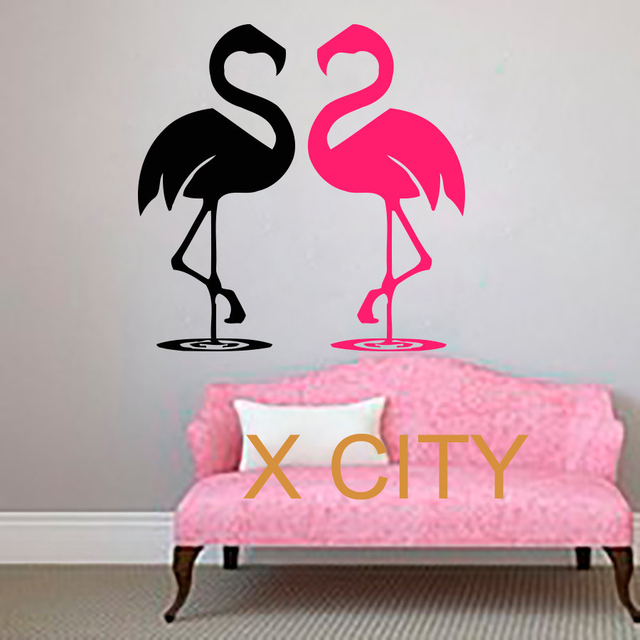 Flamingo couple wall art sticker vinyl decal die cut window door room stencil mural home decor