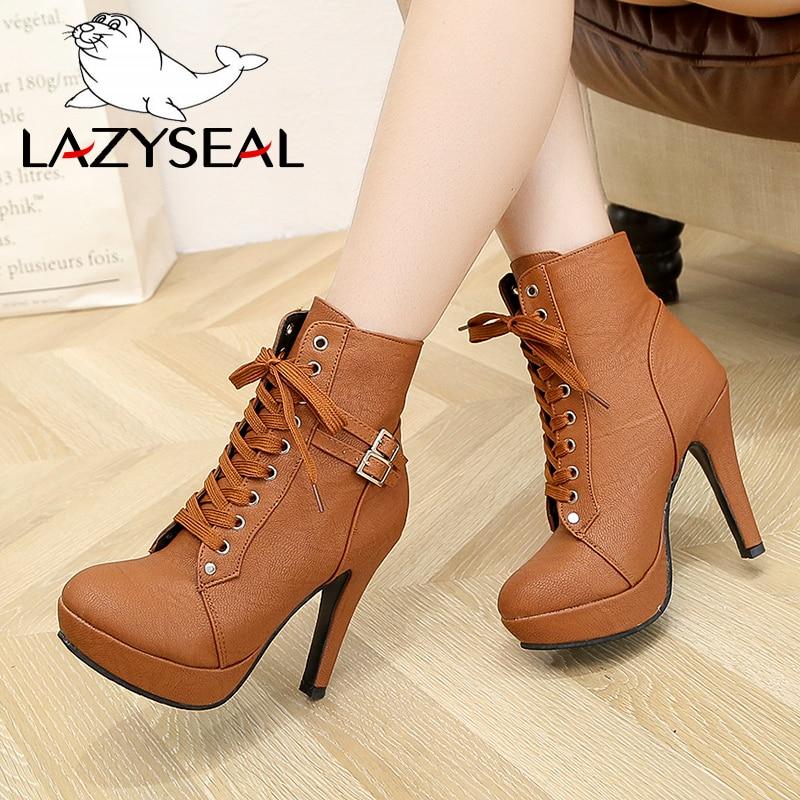 812c4ebd584 Comprar LazySeal botas de tobillo de plataforma de talla grande para mujer  Zapatos de tacón súper alto zapatos de mujer con cordones zapatos de mujer  con ...