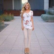 Women V-collar Cross-printed Short-sleeved T-shirt Popular Summer  Wear V-Neck Short Sleeve Floral Casual Tops Tee Shirt
