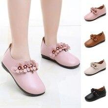 Обувь для девочек; сезон весна-осень; детская однотонная обувь для маленьких девочек с цветочным принтом; Студенческая обувь; мягкие вечерние туфли принцессы для танцев; кожаная обувь; T6