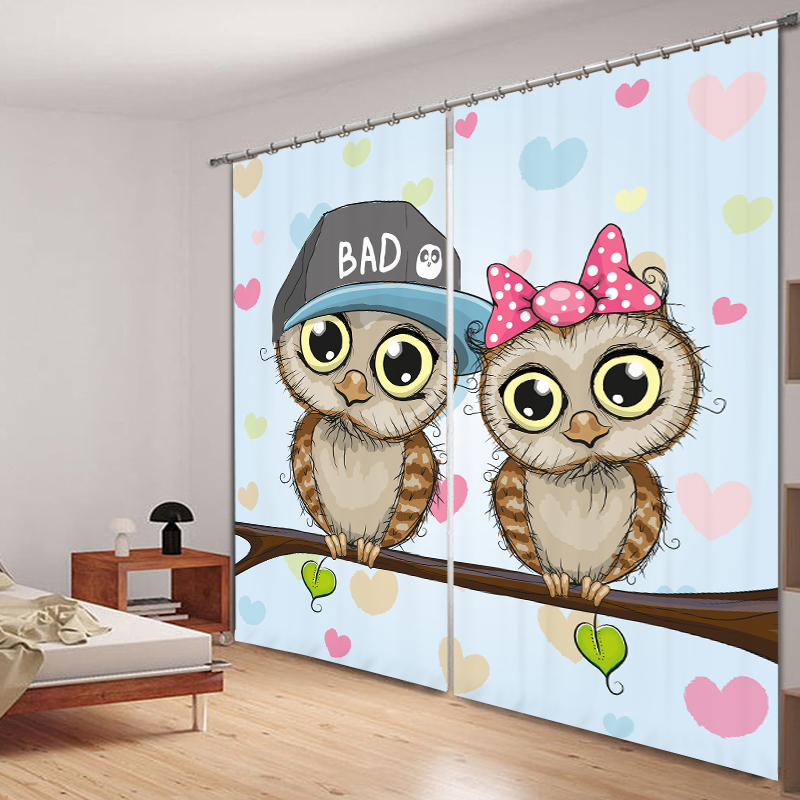 Cute Cartoon Bedroom Living Room Kitchen Home Textile Luxury 3D Window Curtains Gift For <font><b>Kids</b></font> And Family
