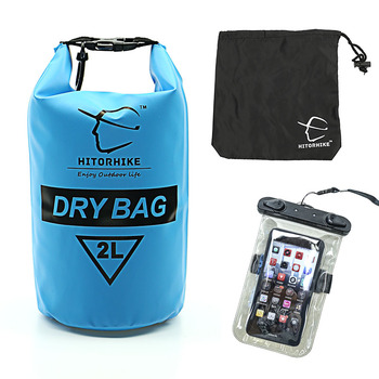 HITORHIKE 2L Outdoor PVC Waterproof Dry Bag with Phone Case Durable Lightweight Diving camping swimming Bags Travel Backpack